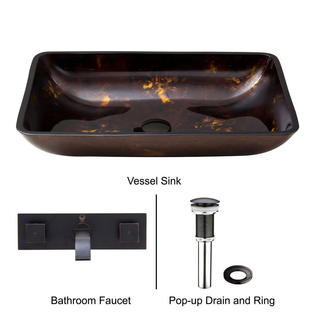 Vigo Rectangular Glass Vessel Sink in Brown and Gold Fusion with Wall-Mount Faucet in Antique Rubbed Bronze