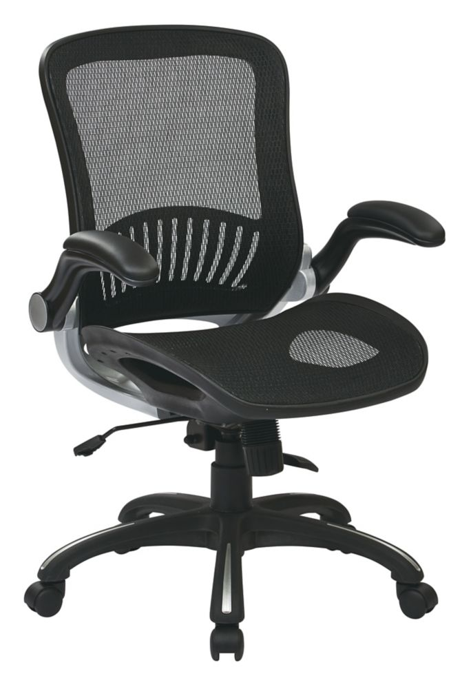 Work Smart Screen Seat and Back Managers Chair with Flip Arms
