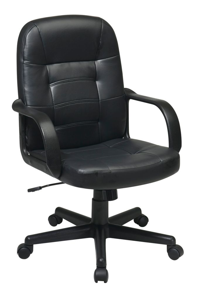 Work Smart Mid Back Black Bonded Leather Managers Chair