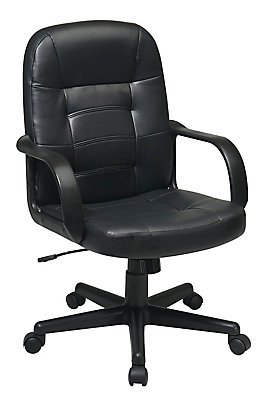 Work Smart Mid Back Bonded Leather Managers Chair In Black The Home Depot Canada