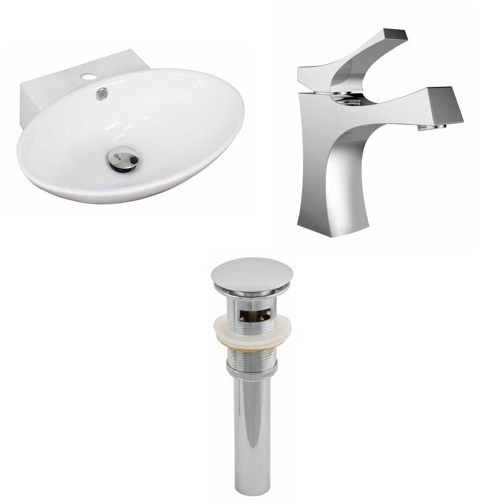21-Inch W x 15-Inch D Oval Vessel Set In White Color With Single Hole CUPC Faucet And Drain AI-15465 Canada Discount