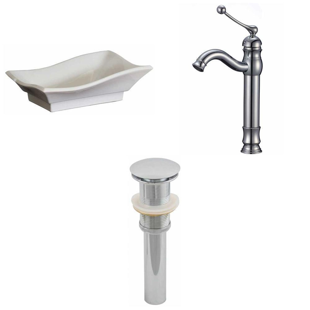 20-inch W x 14-inch D Vessel Sink in White with Deck-Mount Faucet and Drain