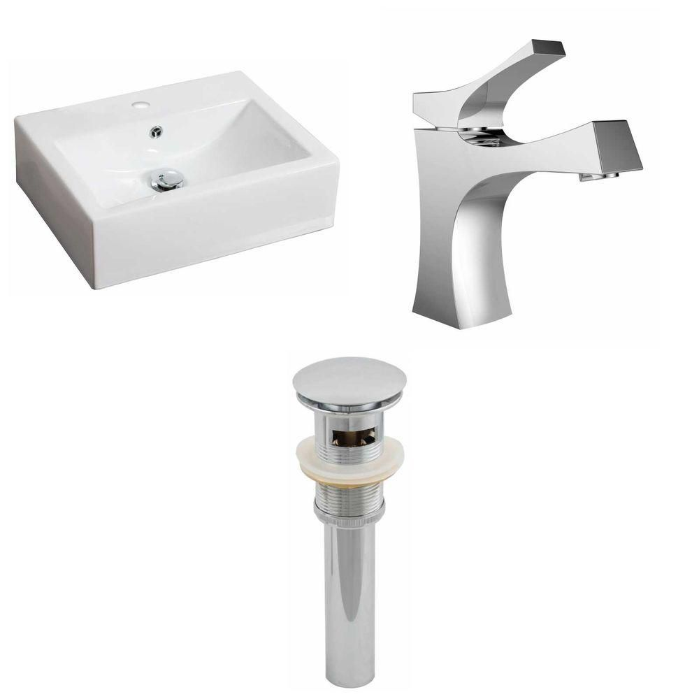 20.5-Inch W x 16-Inch D Rectangle Vessel Set In White Color With Single Hole CUPC Faucet And Drain AI-15599 in Canada