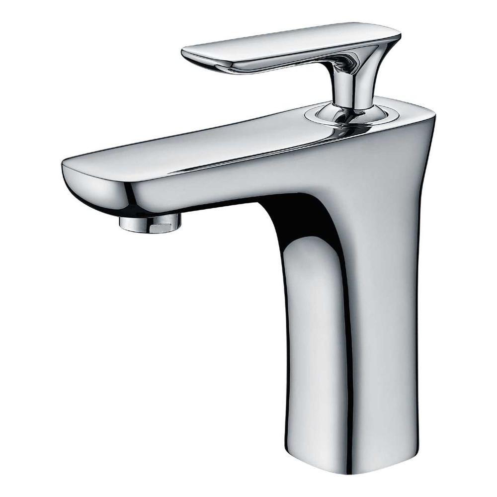 Single Hole Brass Bathroom Faucet in Chrome Finish