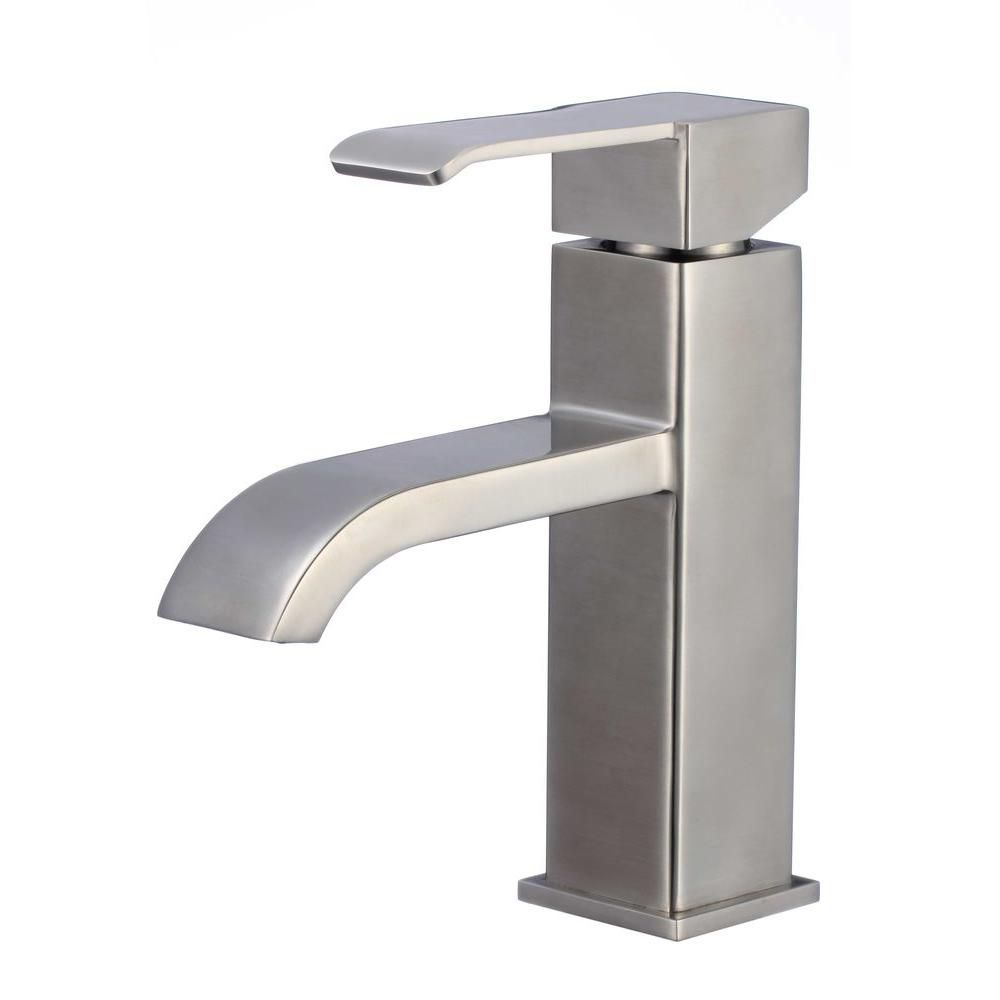 Single Hole Brass Bathroom Faucet in Stainless Steel Finish