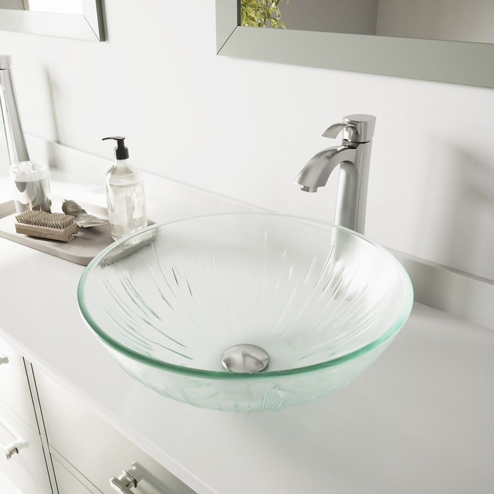 Glass Vessel Sink in Icicles with Otis Faucet in Brushed Nickel