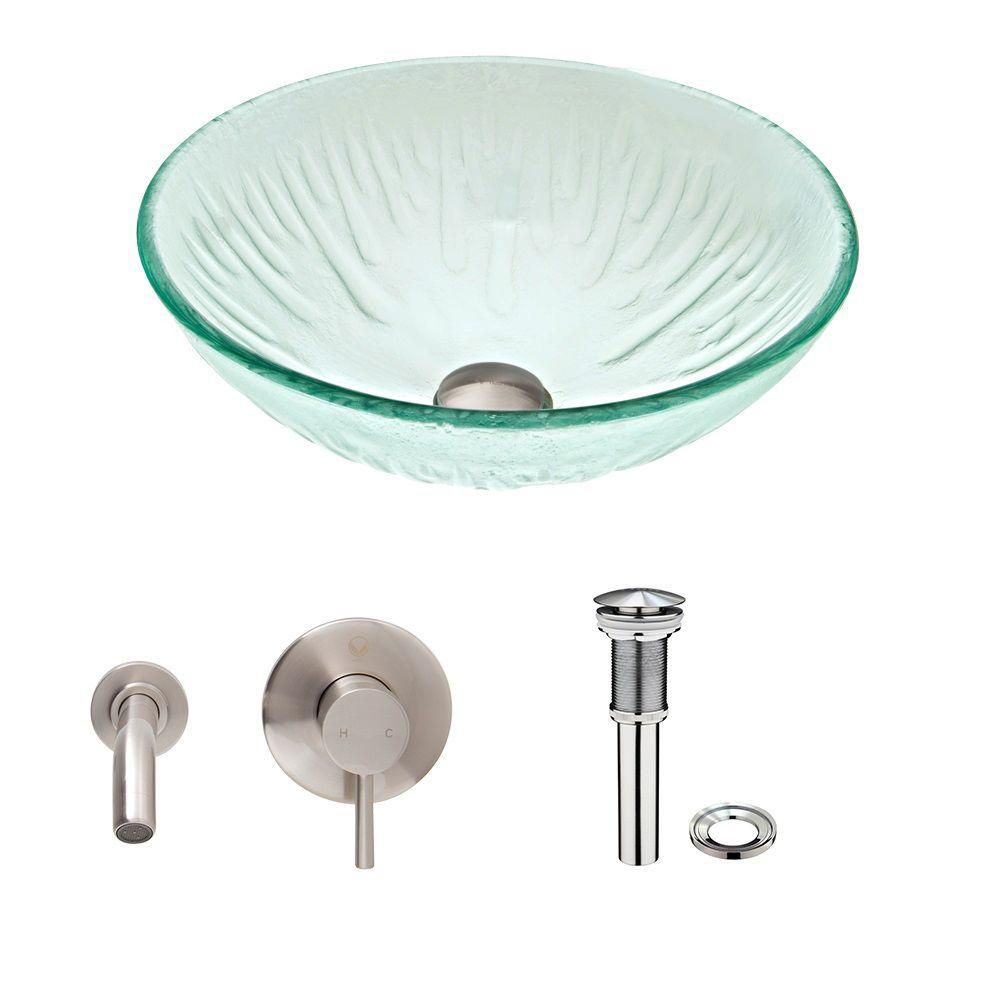 Glass Vessel Sink in Icicles with Olus Wall-Mount Faucet in Brushed Nickel