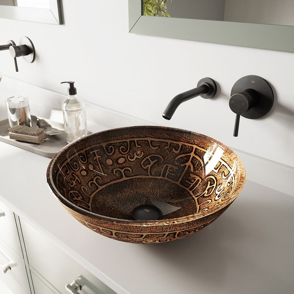 Glass Vessel Sink in Golden Greek with Olus Wall-Mount Faucet in Antique Rubbed Bronze