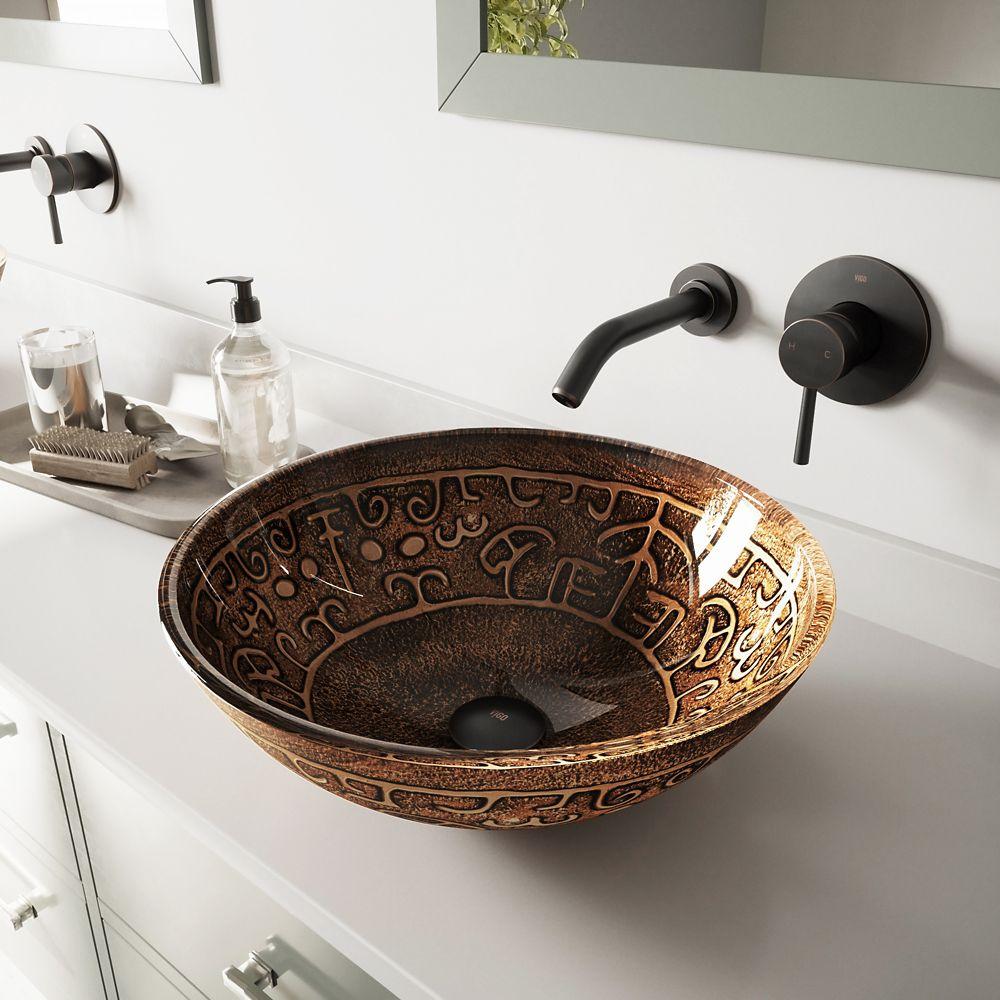 Ensemble Golden Greek lavabo en verre et robinet mural Olus en bronze antique huilé