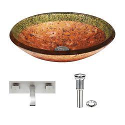 VIGO Glass Vessel Sink in Janus with Titus Wall-Mount Faucet in Brushed Nickel