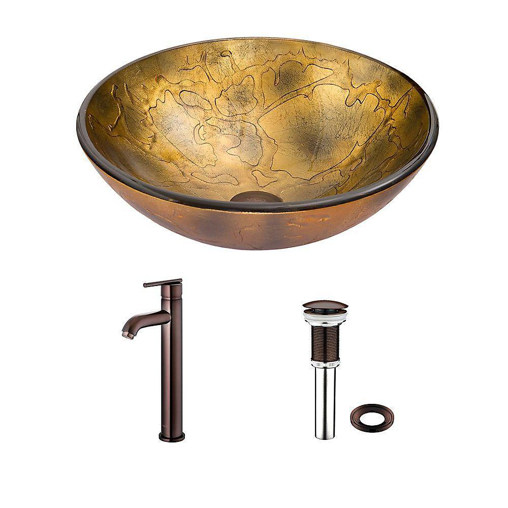 Ensemble Copper Shapes Lavabo en verre et robinet Seville en bronze huilé