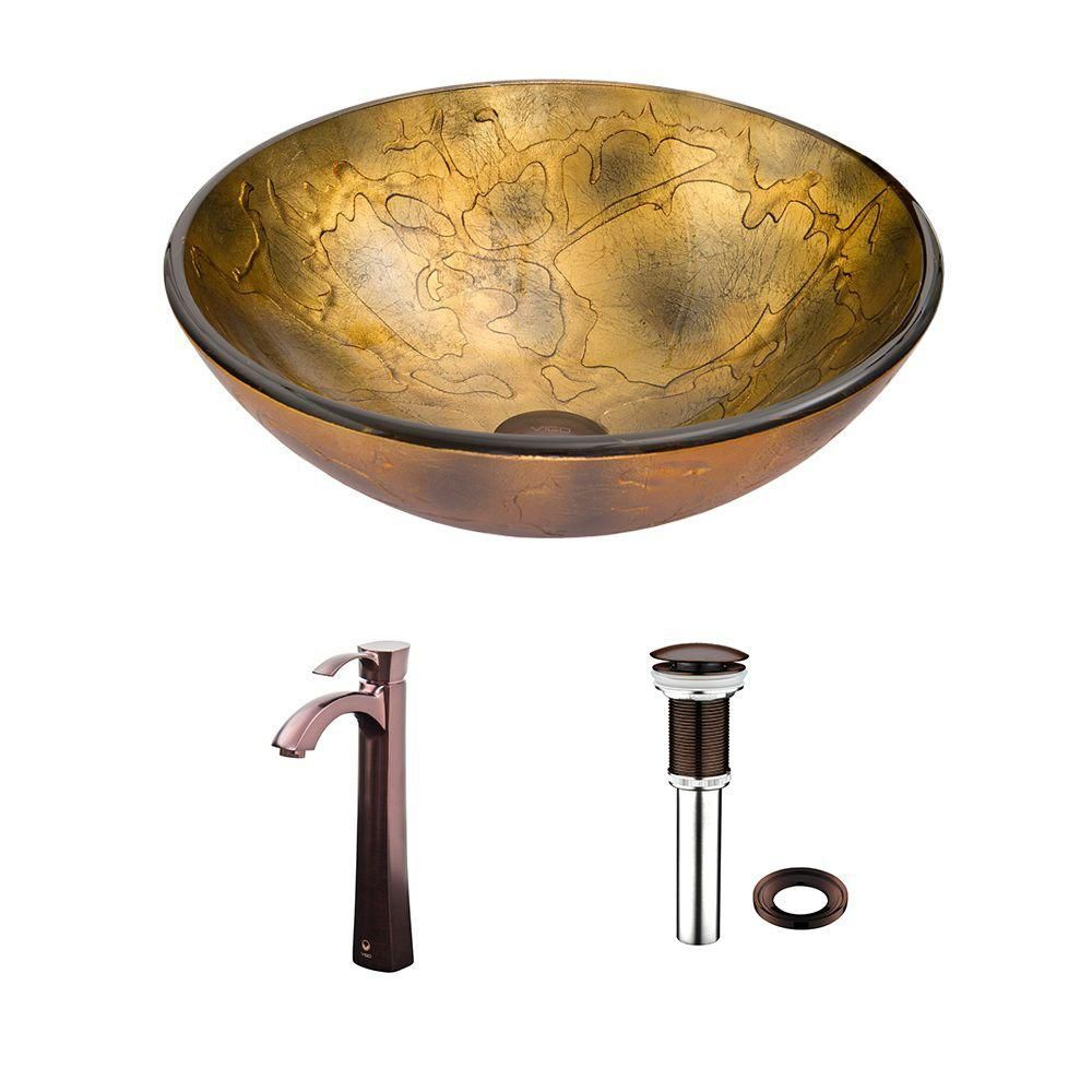 Glass Vessel Sink in Copper Shapes with Otis Faucet in Oil-Rubbed Bronze