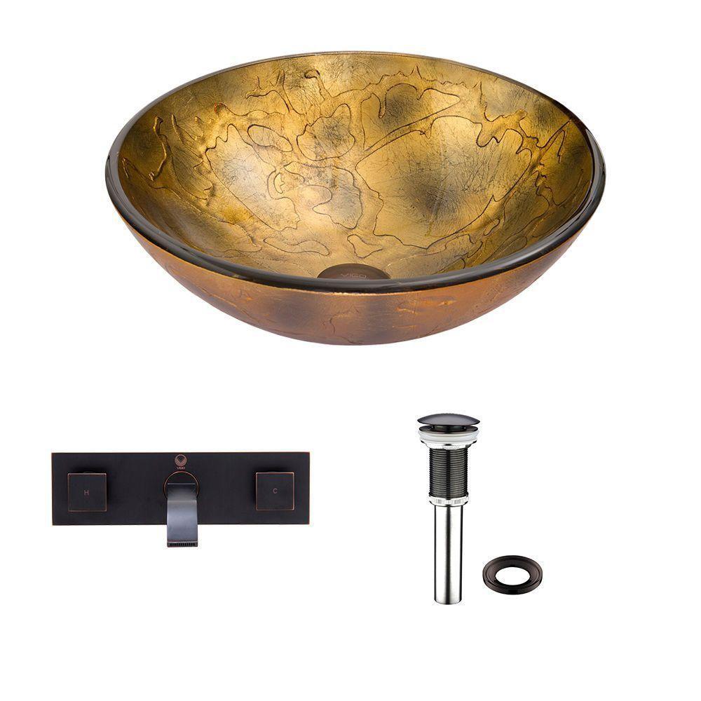 Ensemble Copper Shapes Lavabo en verre et robinet mural Titus en bronze antique huilé