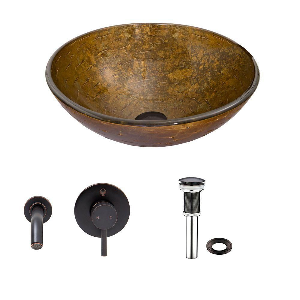 Glass Vessel Sink in Textured Copper with Olus Wall-Mount Faucet in Antique Rubbed Bronze
