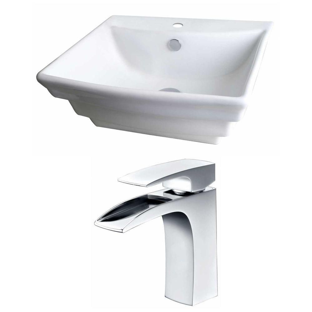 20-in. W x 18 po. D Rectangle navire Set In White Couleur Avec Single Hole CUPC Robinet