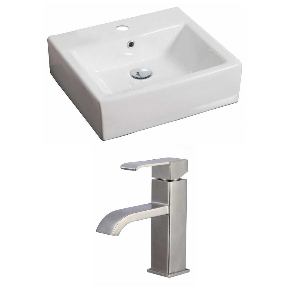 20-inch W x 18-inch D Rectangular Vessel Sink in White with Faucet