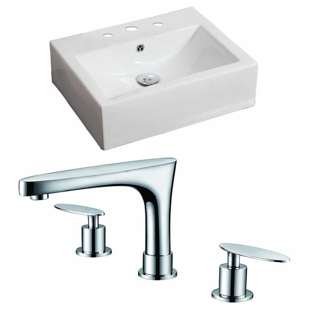 20-in. W x 18 po. D Rectangle navire Set In White Couleur Avec 8-in. O.C. Robinet CUPC