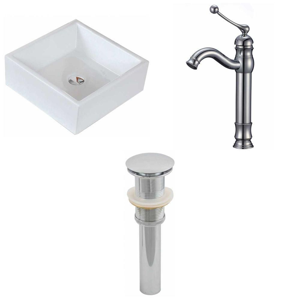 15-inch W x 15-inch D Square Vessel Sink in White with Deck-Mount Faucet and Drain