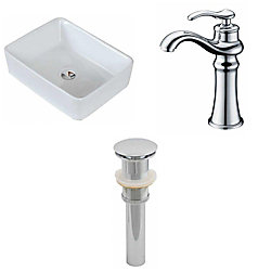 American Imaginations 19-inch W x 14-inch D Rectangular Vessel Sink in White with Deck-Mount Faucet and Drain