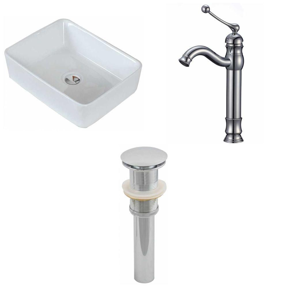 19-inch W x 14-inch D Rectangular Vessel Sink in White with Deck-Mount Faucet and Drain