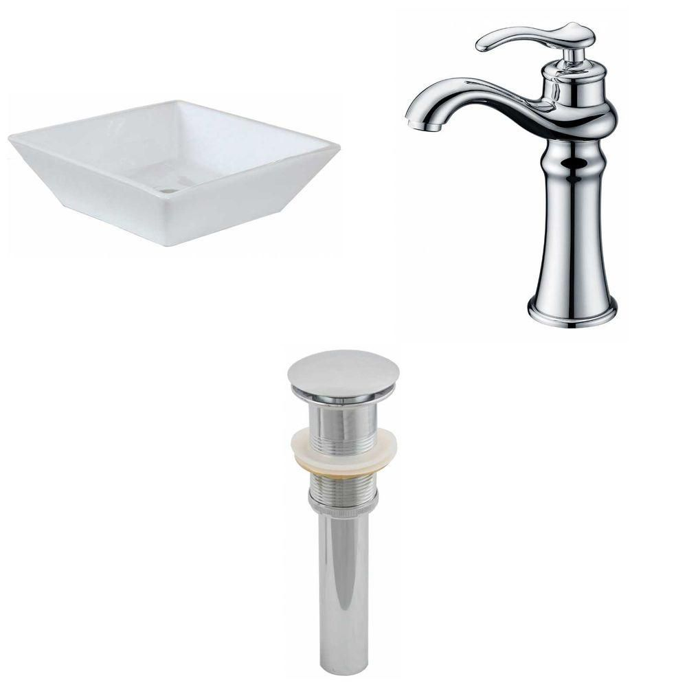 16-inch W x 16-inch D Square Vessel Sink in White with Deck-Mount Faucet