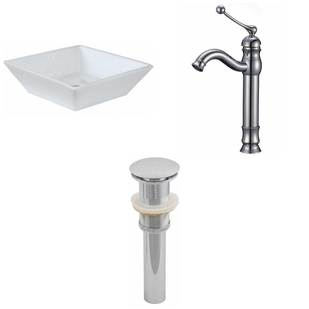 16-inch W x 16-inch D Square Vessel Sink in White with Deck-Mount Faucet and Drain