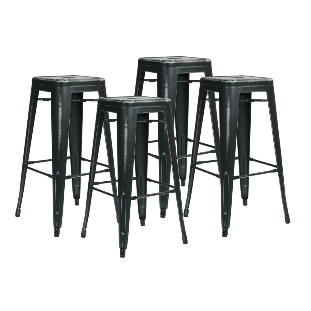 Bristow Metal Black Industrial Backless Armless Bar Stool with Black Metal Seat - Set of 4