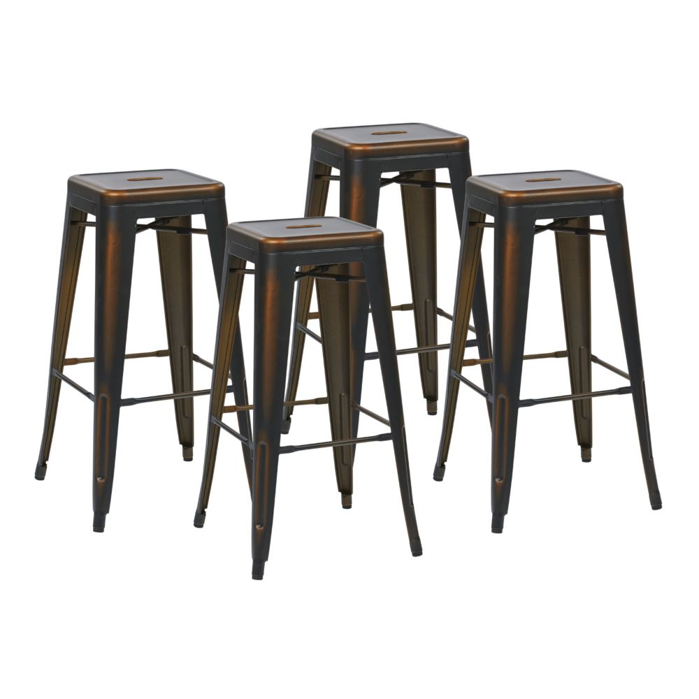 "Bristow 30"" Metal Barstool in Antique Copper, 4-Pack"