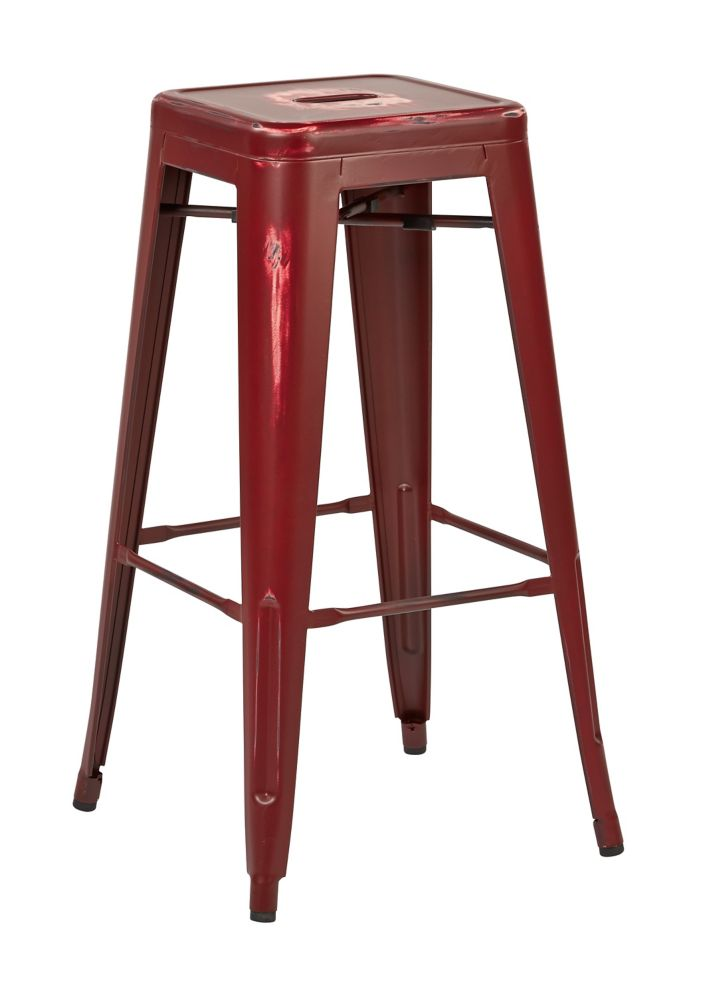 "Bristow 30"" Metal Barstool in Antique Red, 4-Pack"