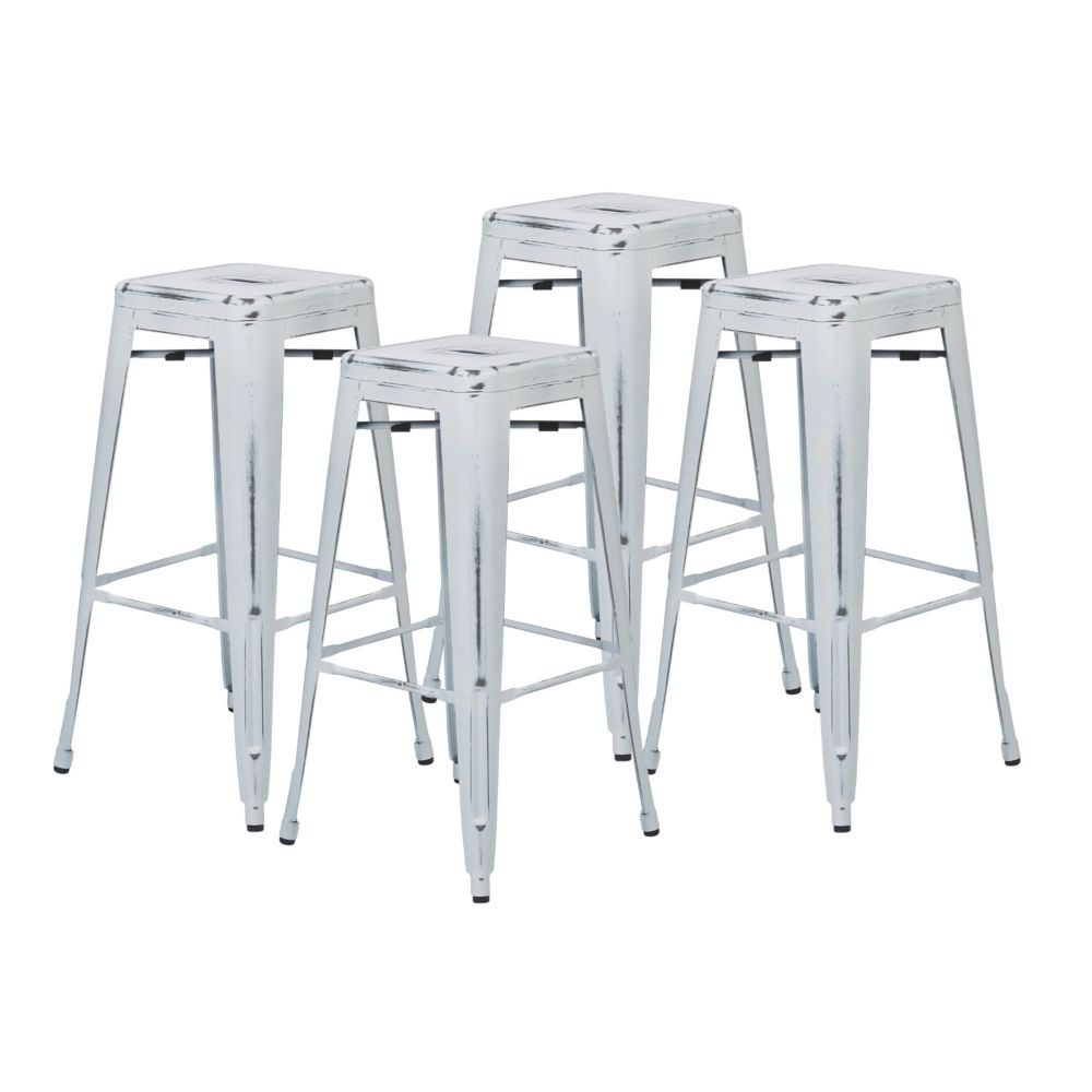 "Bristow 30"" Metal Barstool in Antique White, 4-Pack"