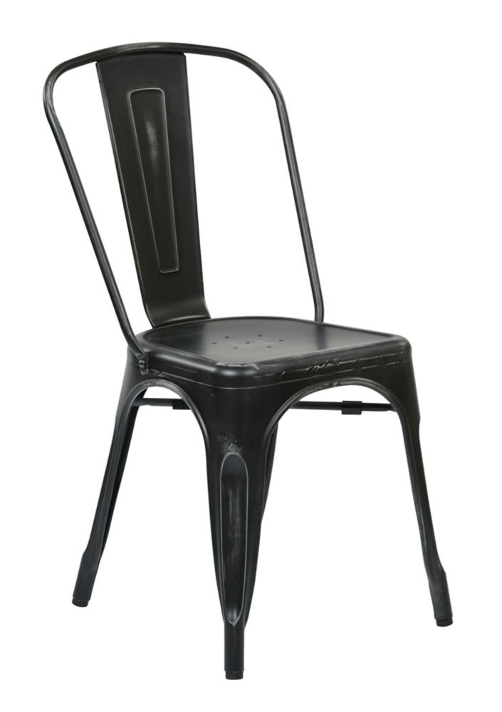 Bristow Metal Dining Chair in Antique Black, 4-Pack