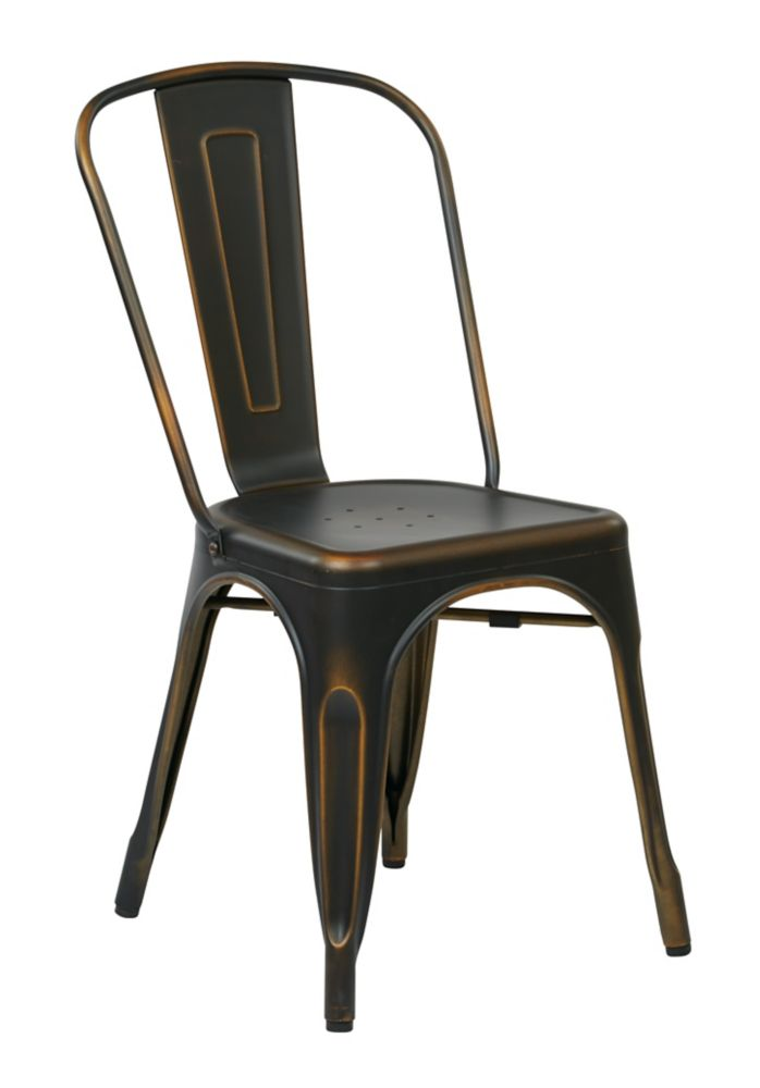Bristow Metal Dining Chair in Antique Copper, 4-Pack
