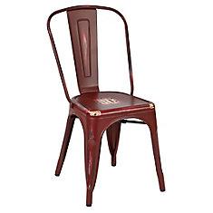 Chaise sans accoudoirs à dossier à traverses Bristow, métal rouge, siège métal rouge, ens. de 4