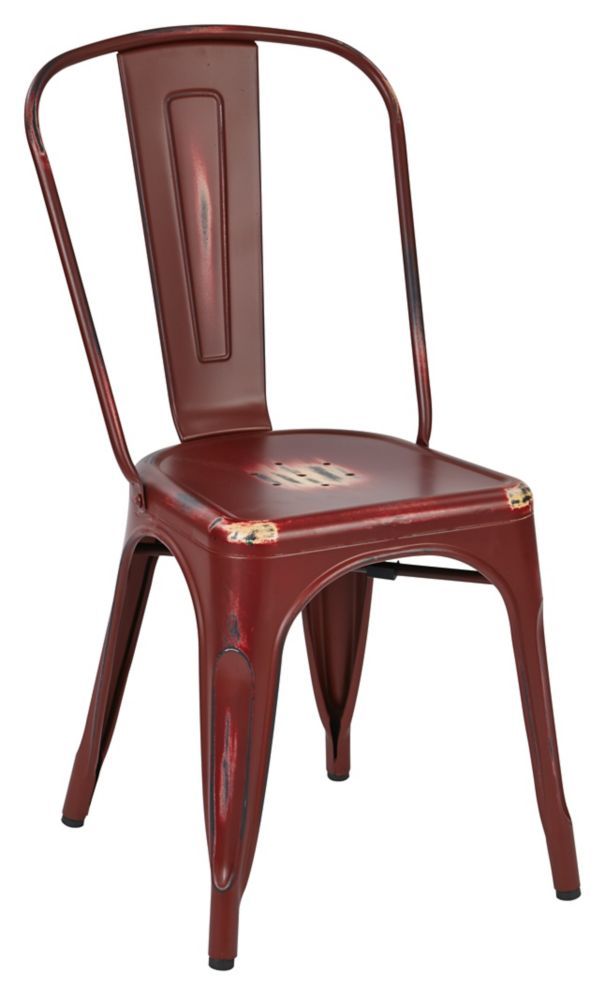 Bristow Metal Red Slat Back Armless Dining Chair with Red Metal Seat - Set of 4