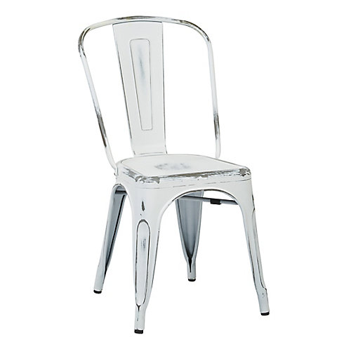 Bristow Metal White Slat Back Armless Dining Chair with White Metal Seat - (Set of 4)