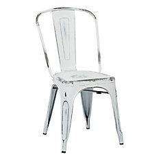Chaise sans accoudoirs à dossier à traverses Bristow, métal blanc, siège métal blanc, ens. de 4