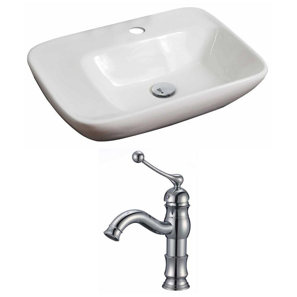 23-in. W x 17 po. D Rectangle navire Set In White Couleur Avec Single Hole CUPC Robinet