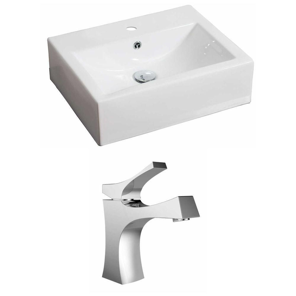 20.5-in. W x 16 po. D Rectangle navire Set In White Couleur Avec Single Hole CUPC Robinet