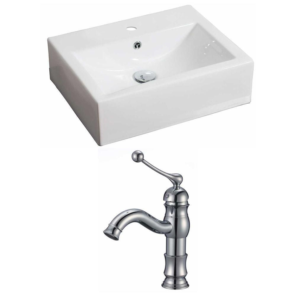 20 1/2-inch W x 16-inch D Rectangular Vessel Sink in White with Faucet