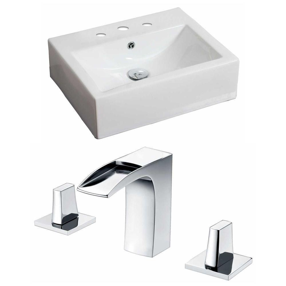 20.5-in. W x 16 po. D Rectangle navire Set In White Couleur Avec 8-in. O.C. Robinet CUPC