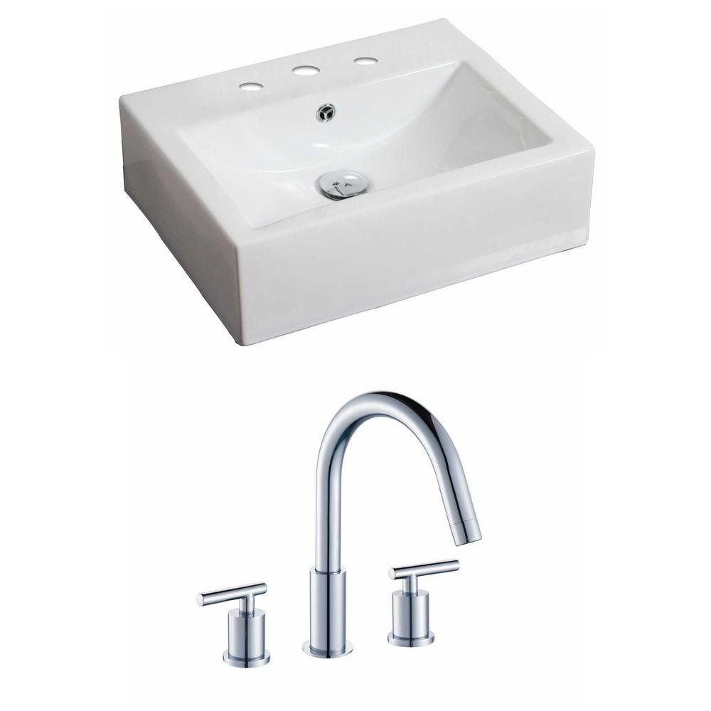 American Imaginations 20 1/2-inch W x 16-inch D Rectangular Vessel Sink in White with Faucet
