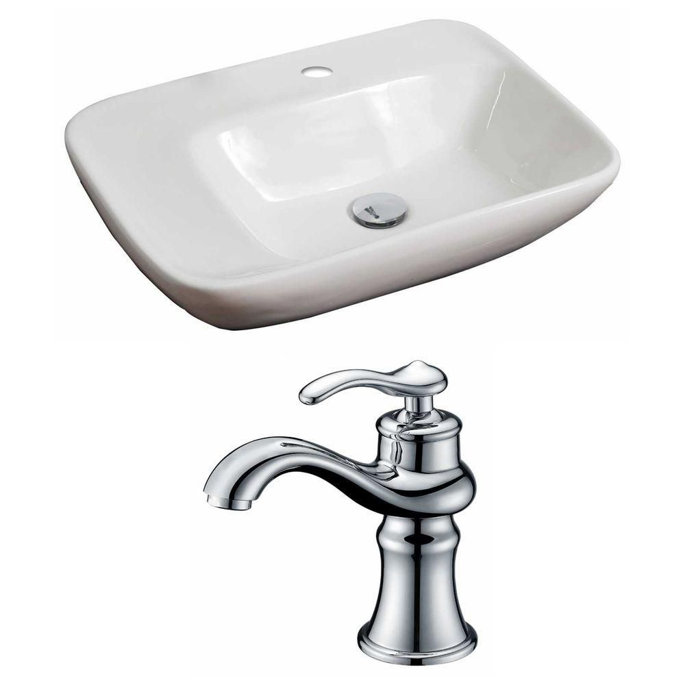 23-inch W x 17-inch D Rectangular Vessel Sink in White with Faucet