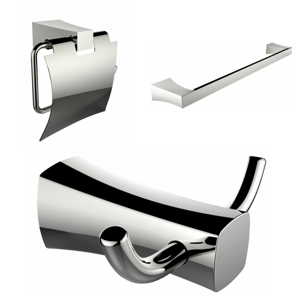Single Rod Towel Rack, Robe Hook And Toilet Paper Holder Accessory Set AI-13430 Canada Discount