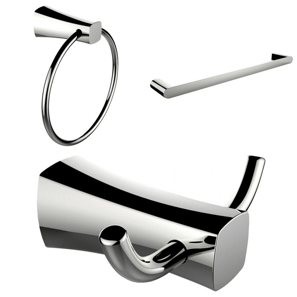 Chrome Plated Towel Ring, Double Robe Hook And Single Rod Towel Rack Accessory Set AI-13449 in Canada