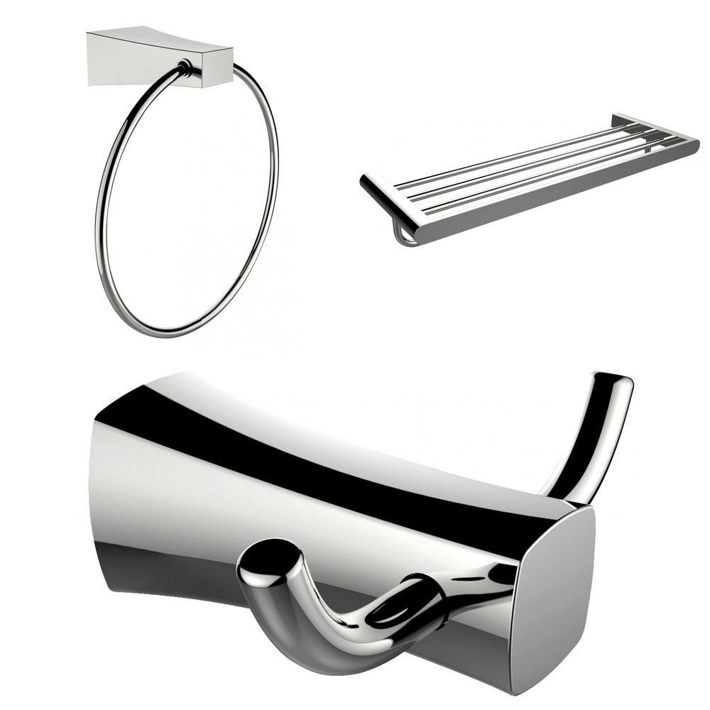 Chrome Plated Towel Ring, Double Robe Hook And A Multi-Rod Towel Rack Accessory Set AI-13457 Canada Discount
