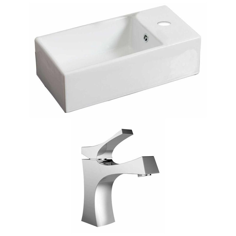 18-in. W x 10 po. D Rectangle navire Set In White Couleur Avec Single Hole CUPC Robinet