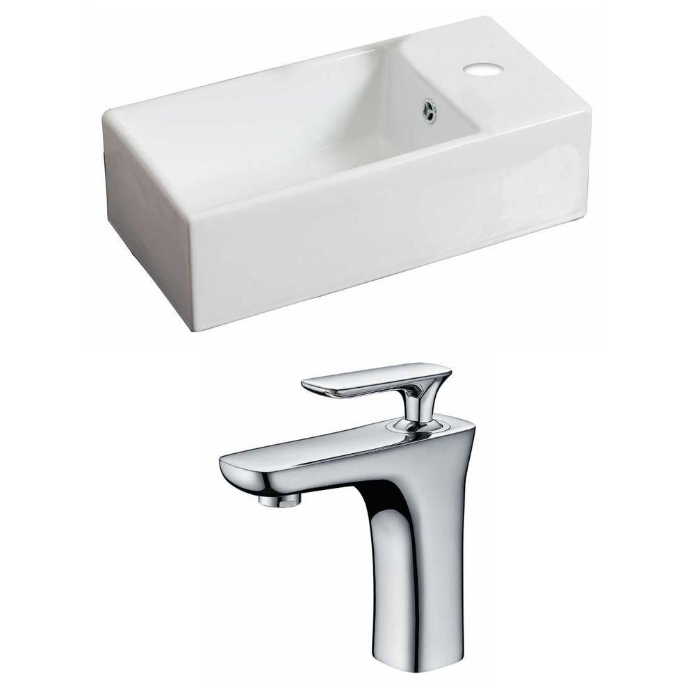 18-inch W x 10-inch D Rectangular Vessel Sink in White with Faucet