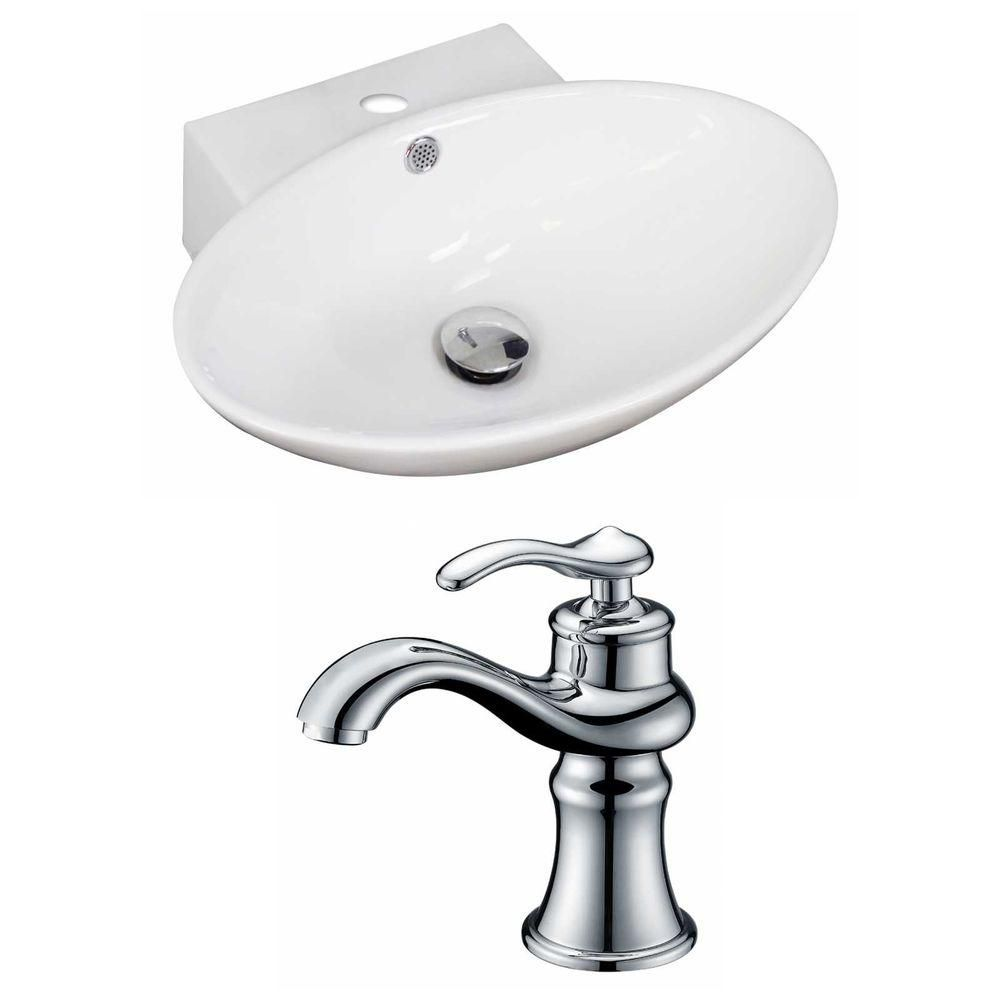 21-in. W x 15 po. D ovale navire Set In White Couleur Avec Single Hole CUPC Robinet
