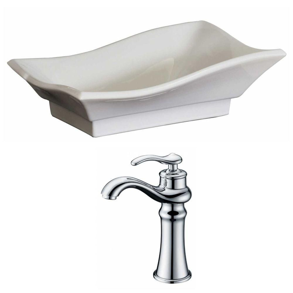 20-inch W x 14-inch D Vessel Sink in White with Deck-Mount Faucet