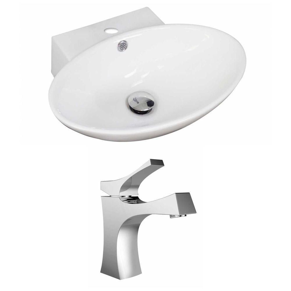 American Imaginations 21-inch W x 15-inch D Oval Vessel Sink in White with Faucet